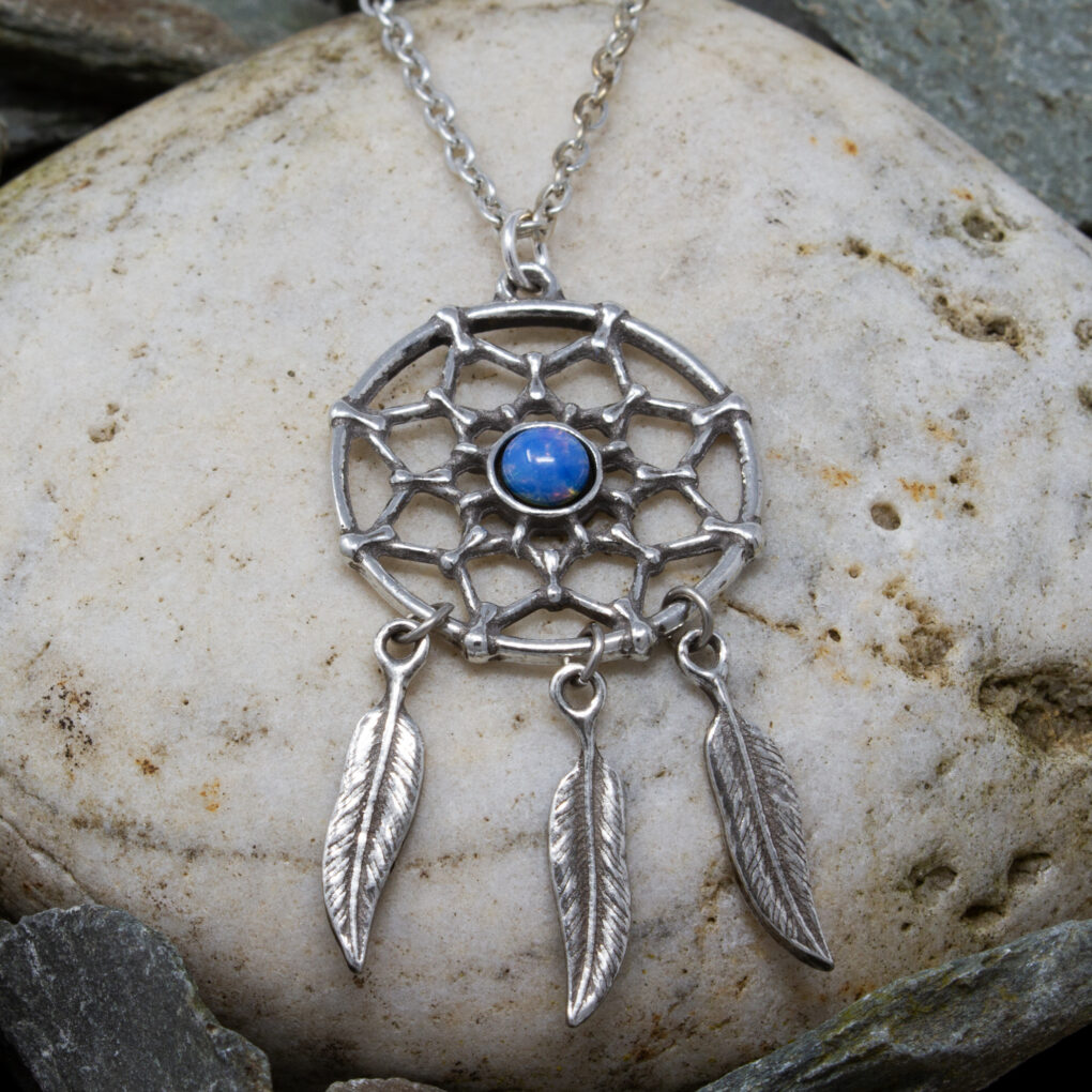 The dreamcatcher pendant in pewter from Eyres Jewelley