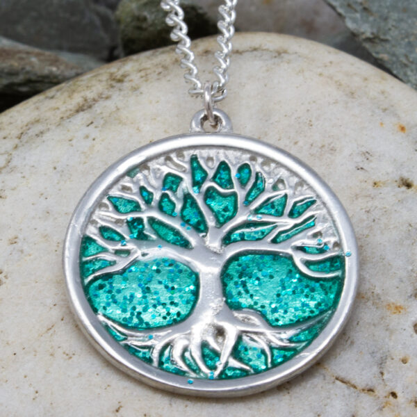 This is the green Tree of Life pendant made in Cornwall