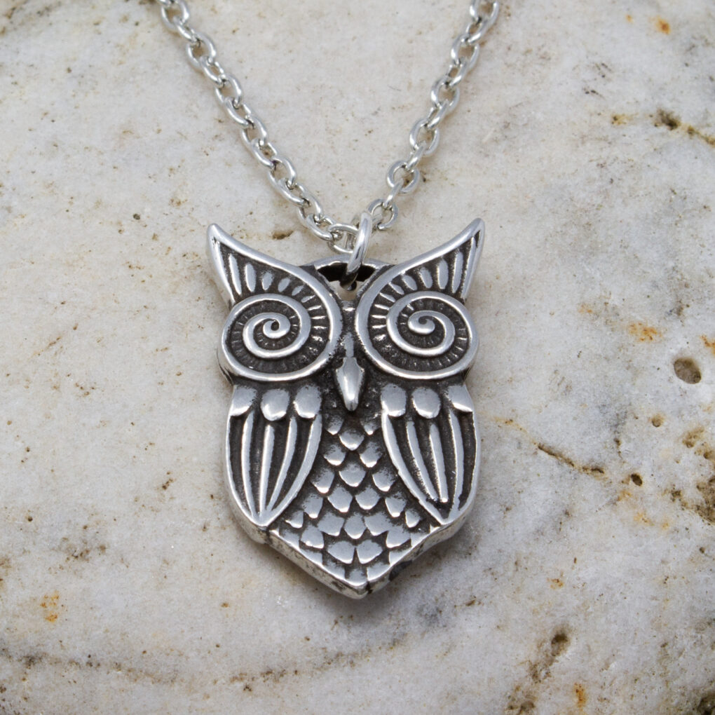 Pewter owl pendant on chain