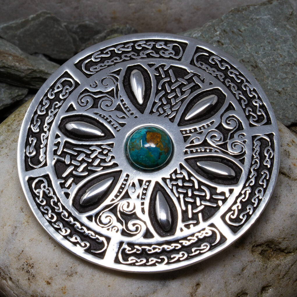 A turquoise celtic brooch from Eyres Jewellery