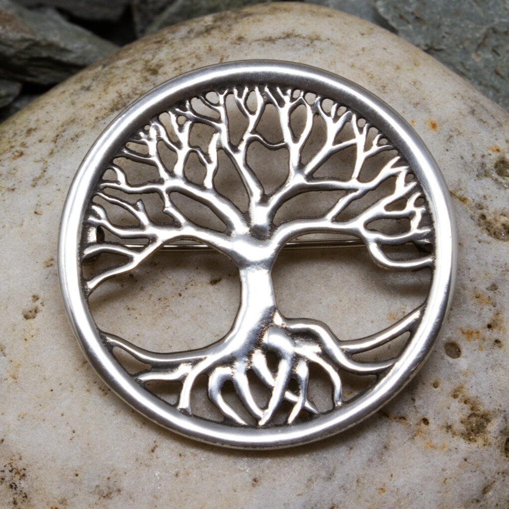 a pewter Tree of Life brooch from St Justins, Cornwall
