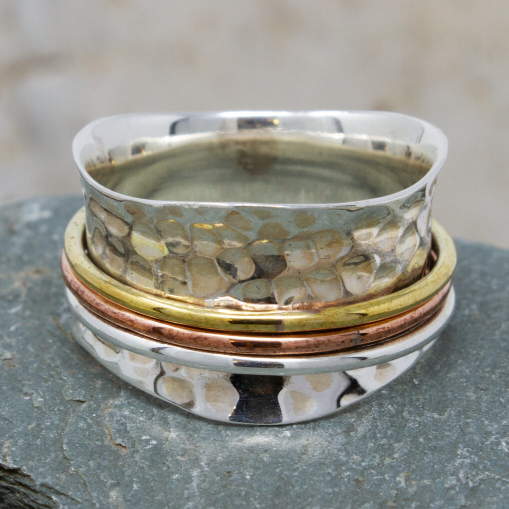 Silver Spinning Ring With Copper And Brass Bands