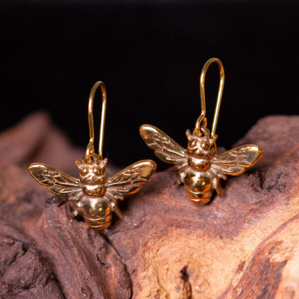 bronze bee earrings hooks
