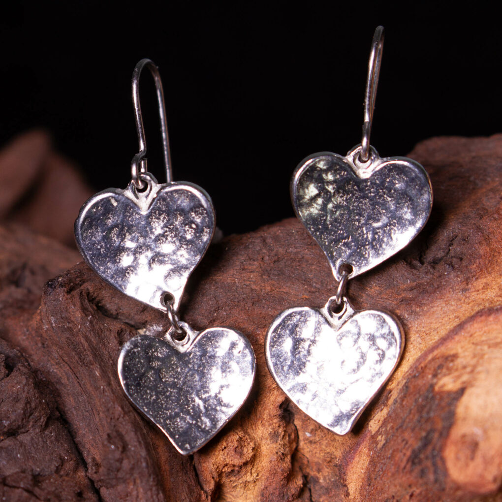heart drop earrings in pewter