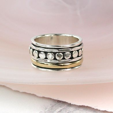 Silver and Brass Spinning ring with dots