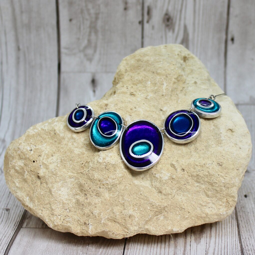 organic circles necklace peacock