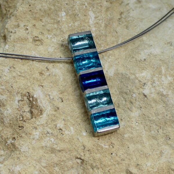 pewter stripes pendant teal