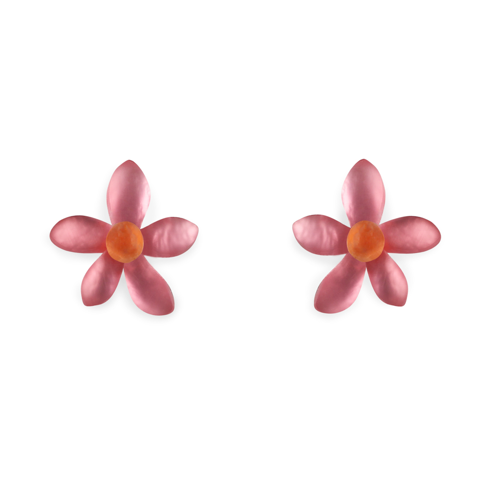 flower stud earrings coral