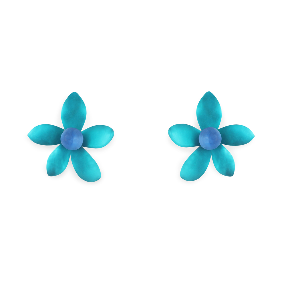 Flower Stud Earrings - Teal