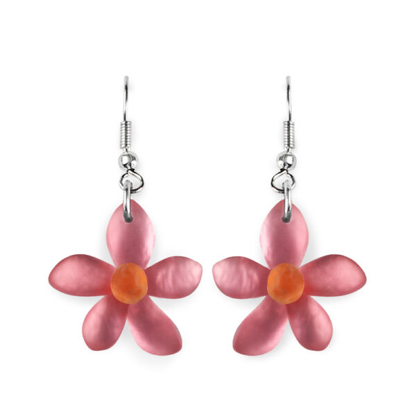 Flower Earrings - Coral