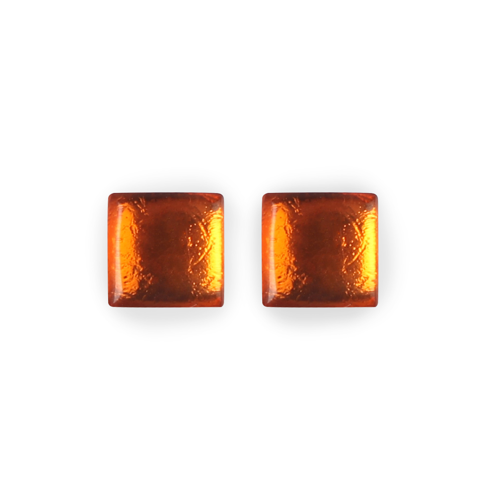 Square Button Stud Earrings - Orange