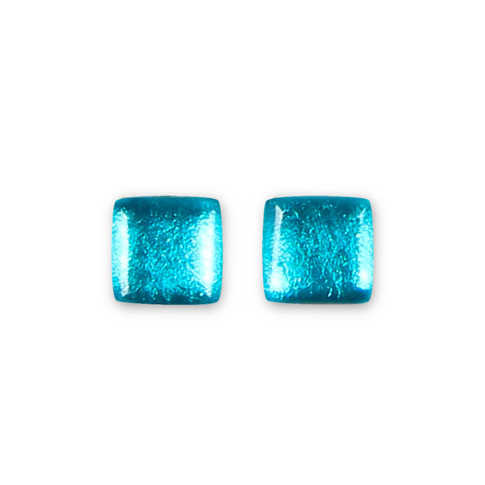 Square Button Stud Earrings - Teal