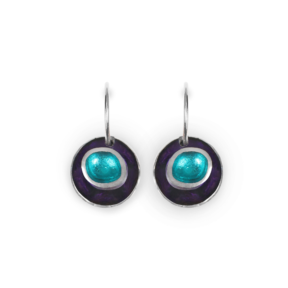 organic circles earrings peacock