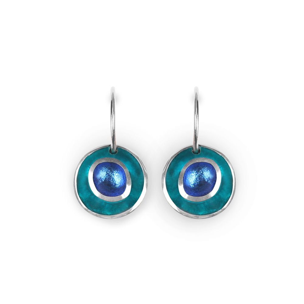 organic circles earrings teal