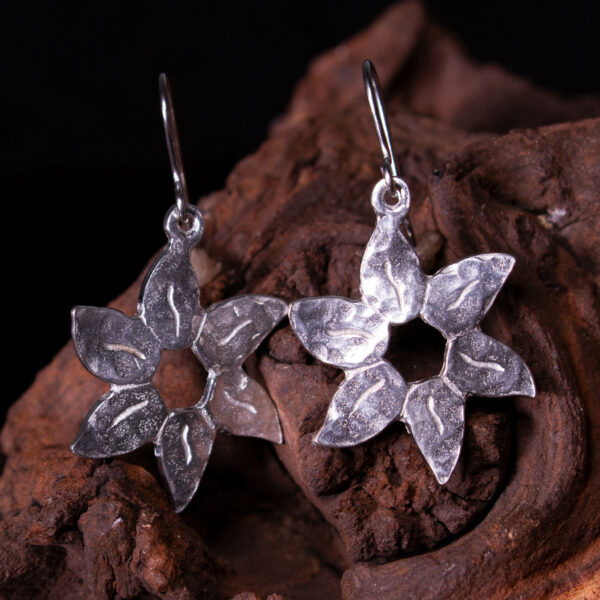 planished flower earrings