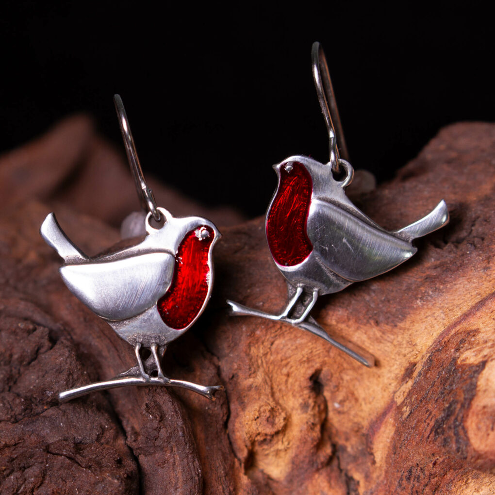a pair of robin earrings