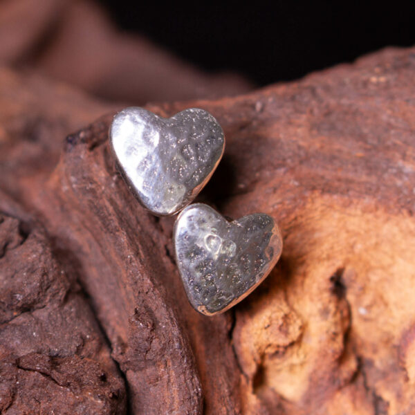 a pair of cornish tin heart stud earrings