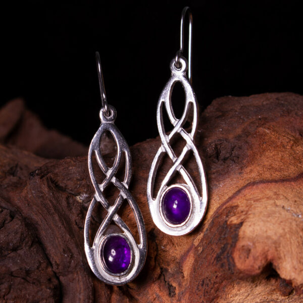 a pair of amethyst celtic earrings