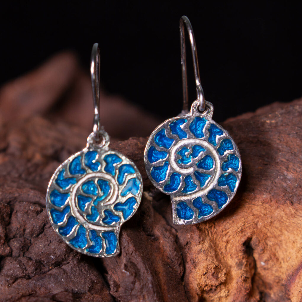 enamelled ammonite earrings