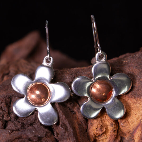 copper centre flower earrings