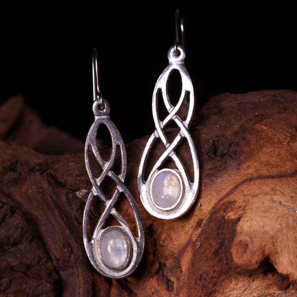 a pair of moonstone celtic earrings