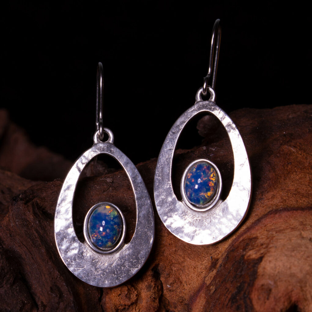 a pair of opalite cabochon earrings