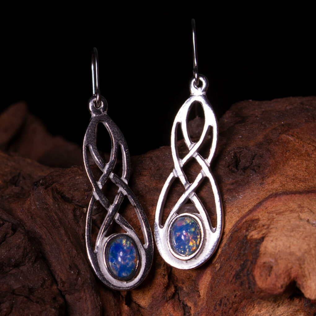a pair of opalite celtic earrings