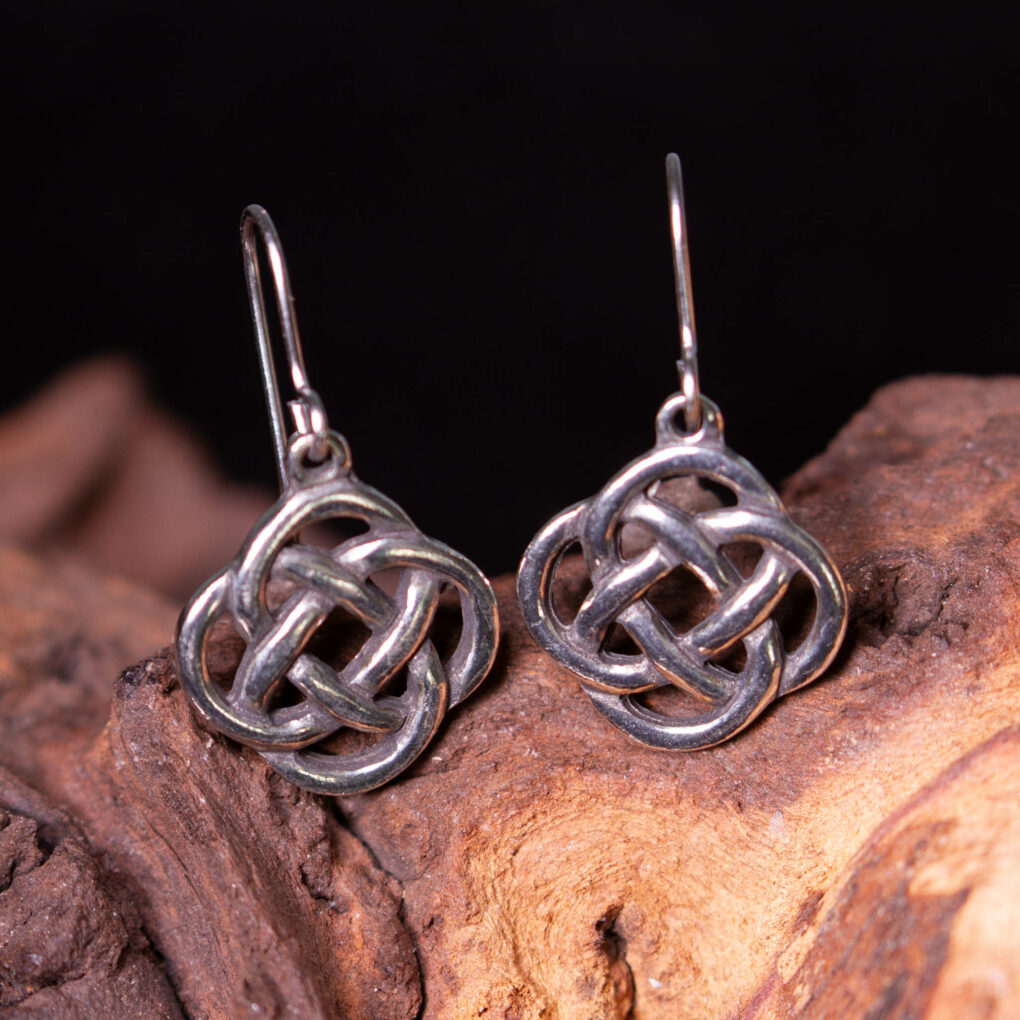 knot drop earrings in pewter