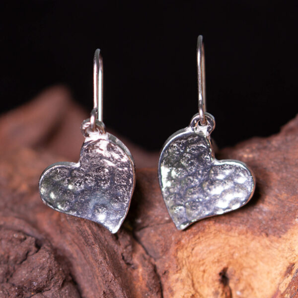 pewter heart earrings