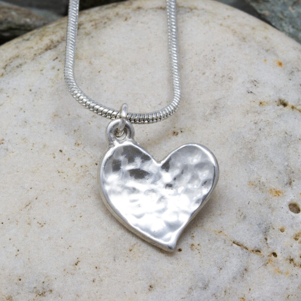 Tiny Planished heart pendant