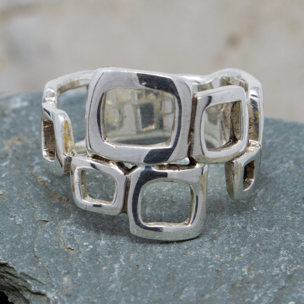 Silver Cubic Silver Ring