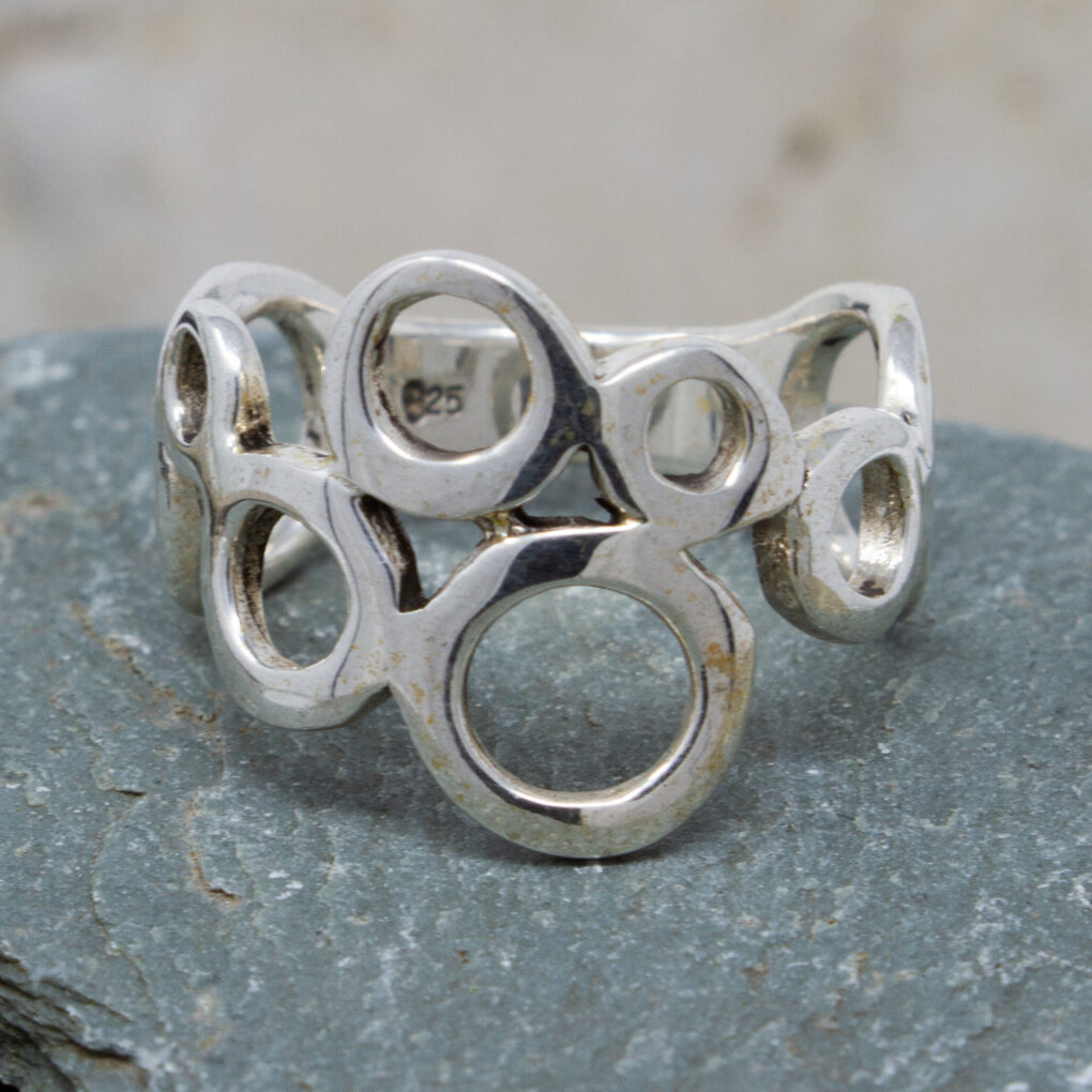 Abstract Circle Silver Ring