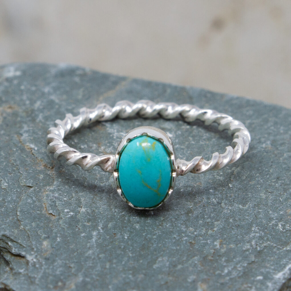 Silver Twisted Band with Oval Imitation Turquoise Stone