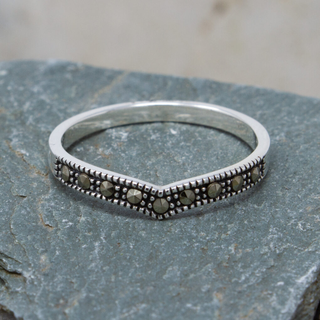 silver Marcasite Wishbone Ring