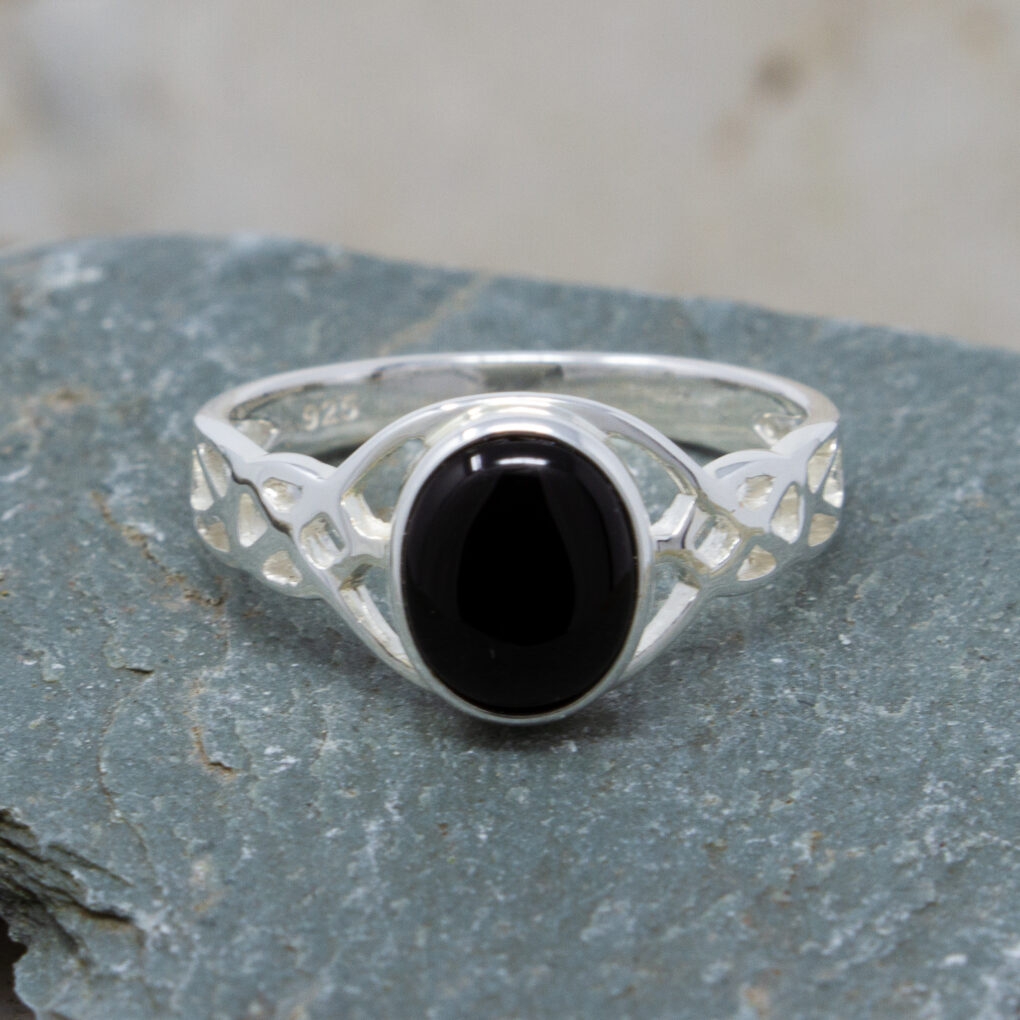Silver Onyx Celtic Ring