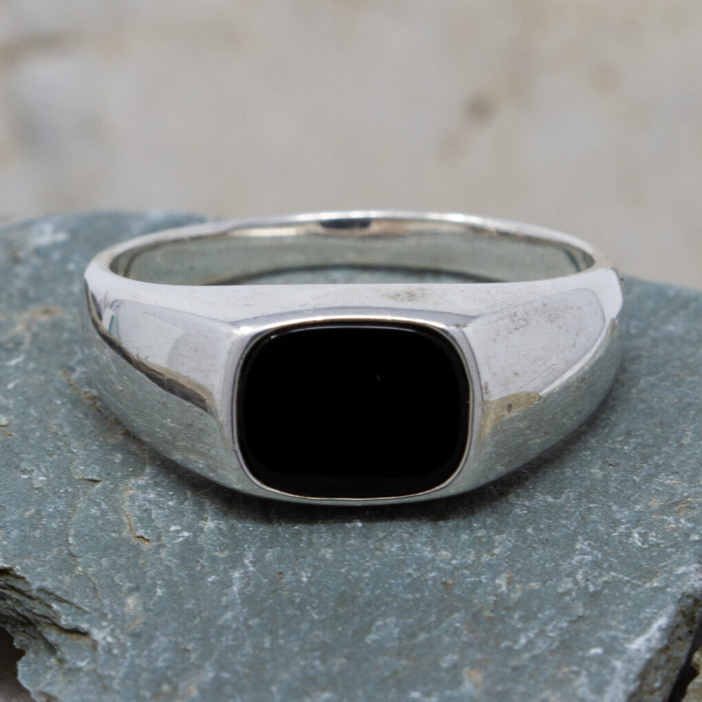 Silver And Onyx Signet Ring