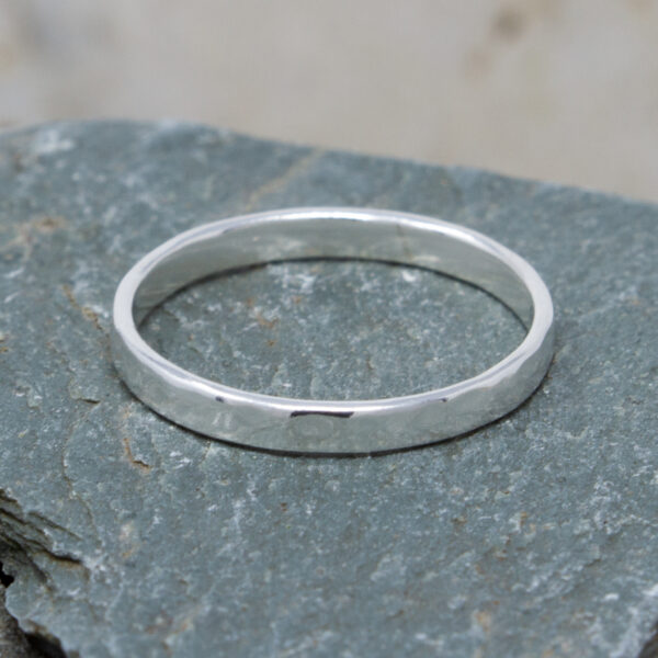 Fine Silver Hammered Stacking Ring