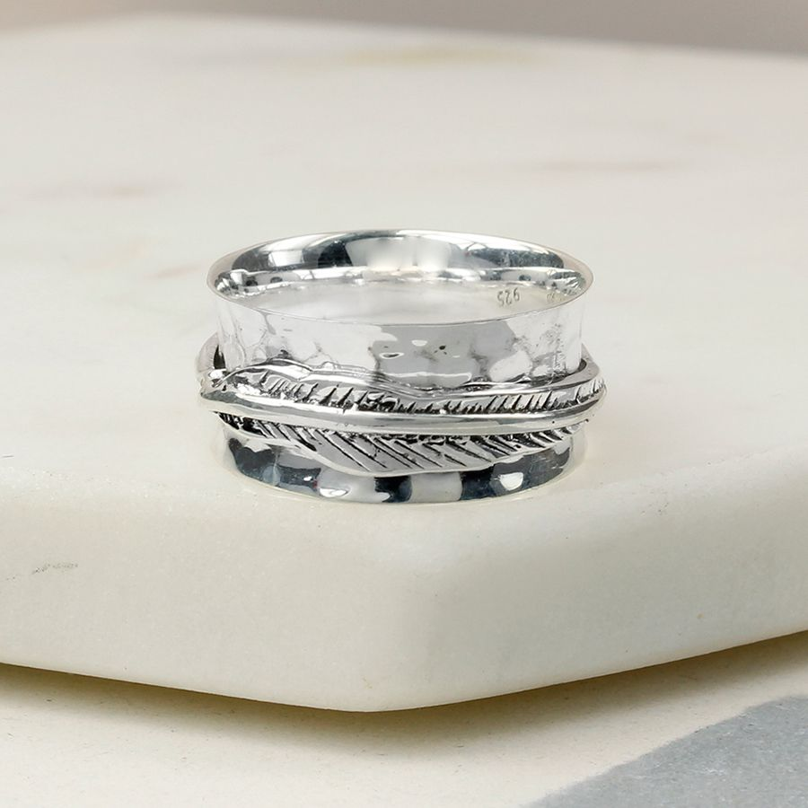 Silver Feather Spinning Ring