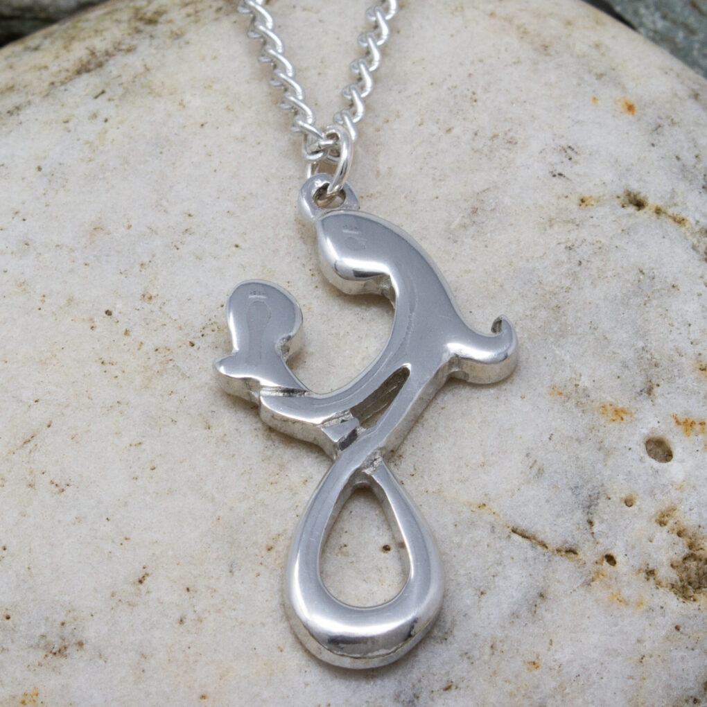 Mother And Child Pendant - Pewter