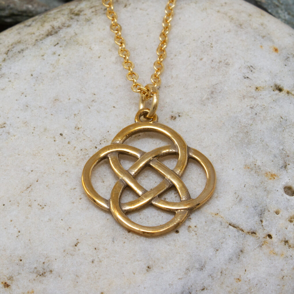 bronze four loop knot pendant