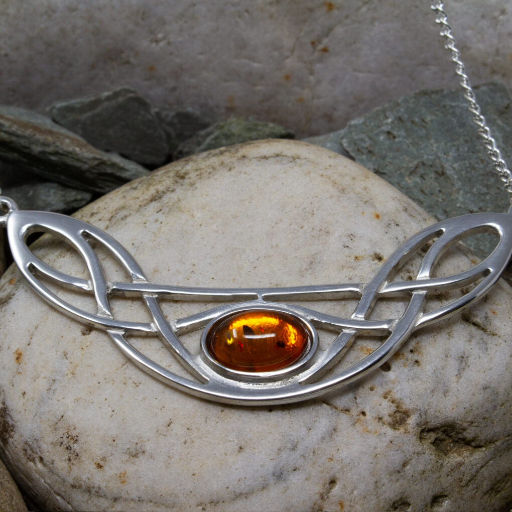 celtic bow necklace amber