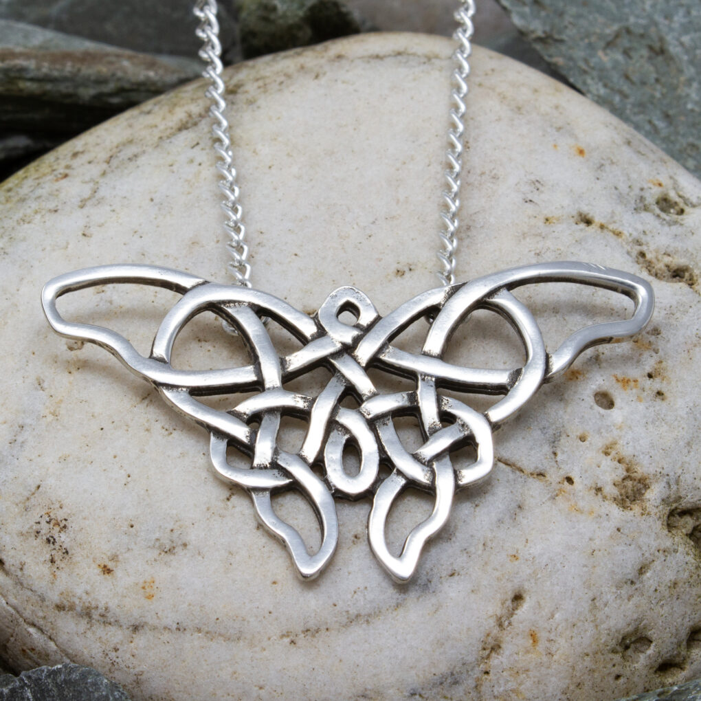 celtic pewter butterfly pendant