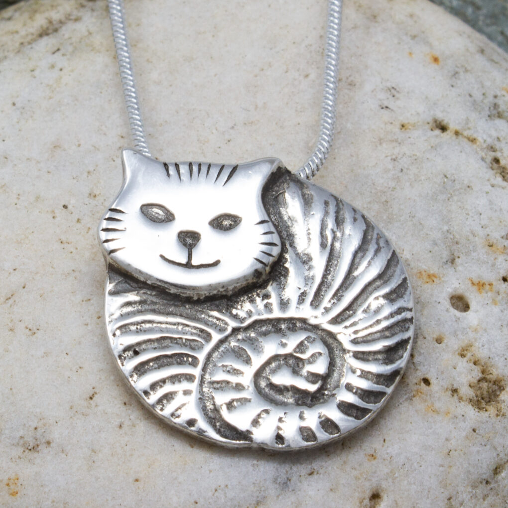 fat cat pendant pewter