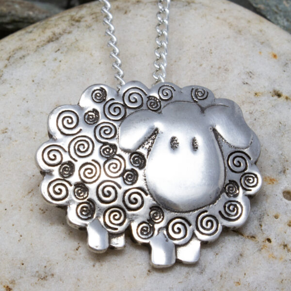sheep pendant pewter