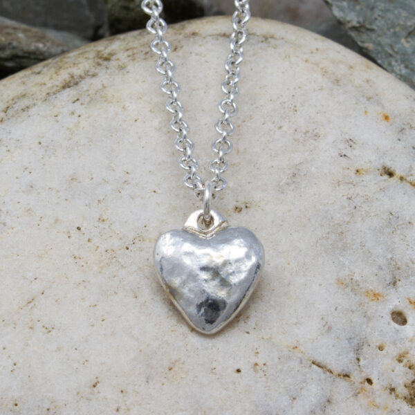 planished heart pendant Cornish-tin