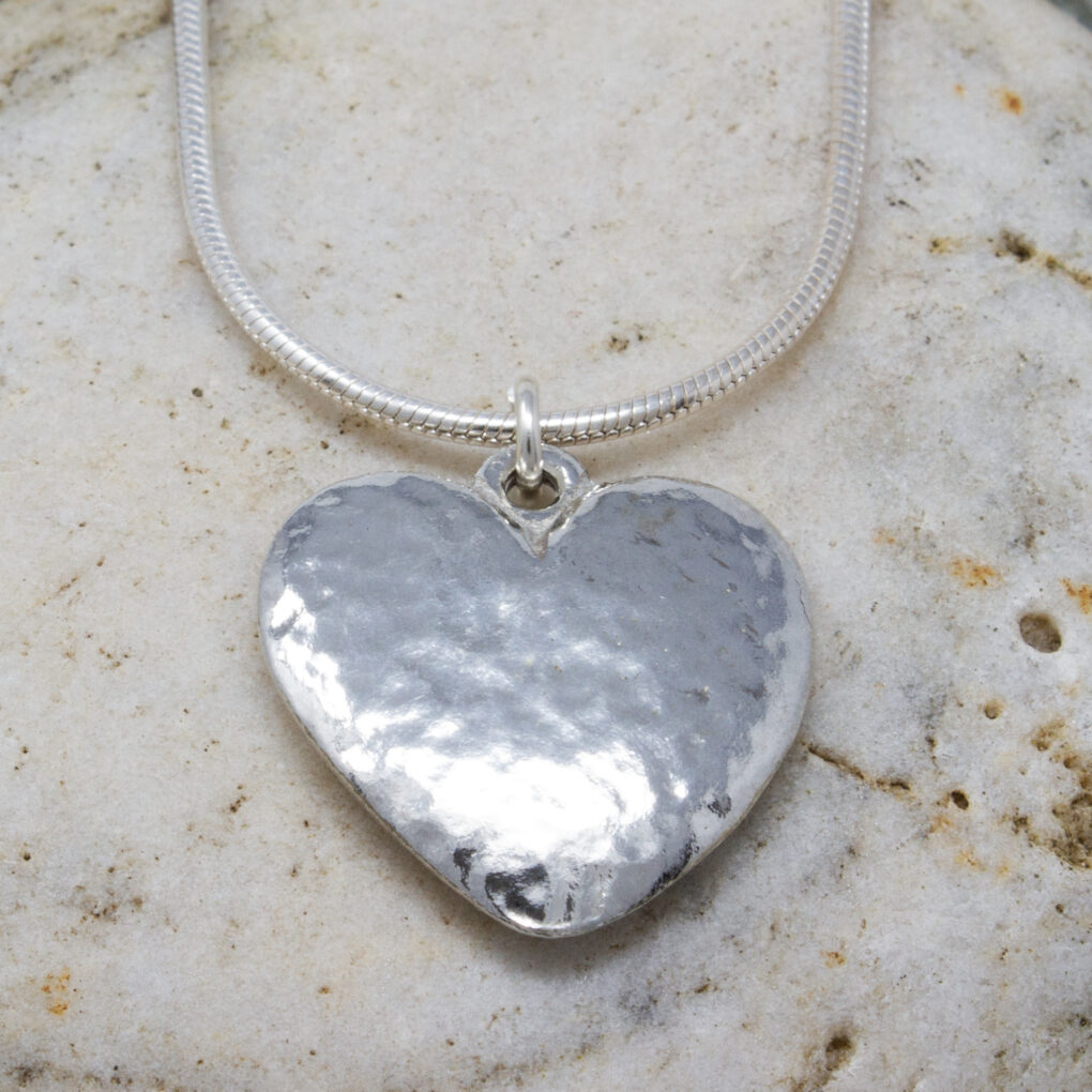 beaten heart pendant Cornish-tin