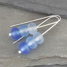 glass trio earrings blue
