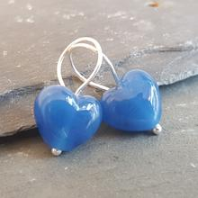 Cora heart earrings Bosham blue