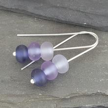 glass trio earrings violet