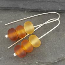 glass trio earrings amber